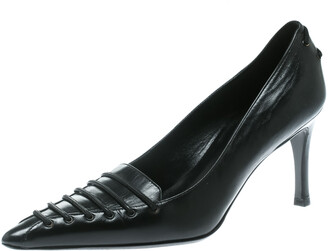 Gucci Black Leather Pointed Toe Pumps Size 34