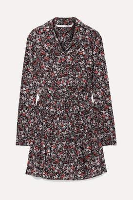 Veronica Beard Rory Floral-print Silk-blend Crepe De Chine Mini Dress - Black