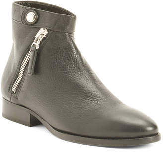 Made In Italy Tumbled Side Zipper Leather Boots