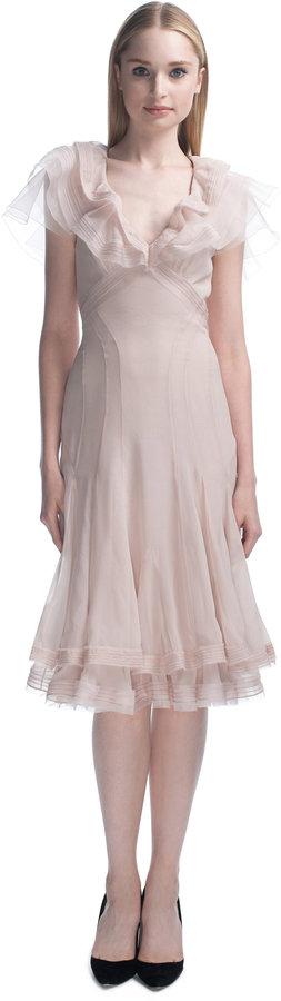 Zac Posen Pearl Pink Chiffon Cocktail Dress