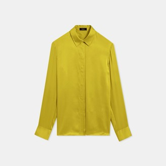 Theory Washed Satin Straight Shirt