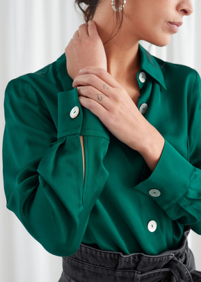 And other stories Iridescent Button Satin Blouse