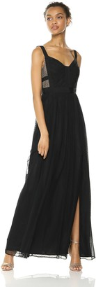 Adrianna Papell Women's Sleeveless V-Neck Shirred Skirt Long Dress
