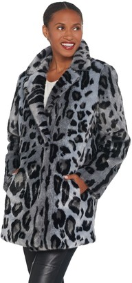 Dennis Basso Madison Avenue Printed Faux Fur Jacket with Notched Lapel