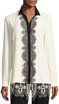 Etro Paisley Lace-Trim Silk Blouse, White