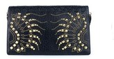 Roberto Cavalli Women's Black Leather Large Regina Clutch.
