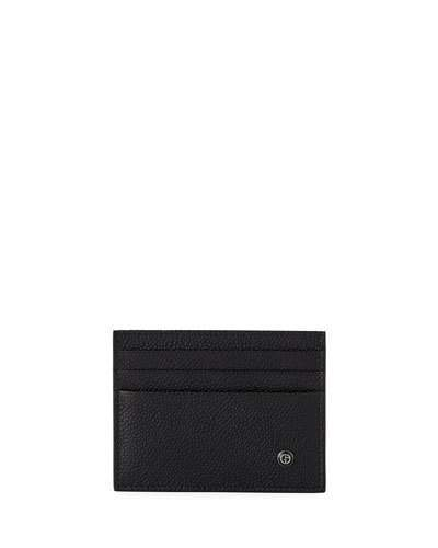 Giorgio Armani Caviar Leather Card Case, Black