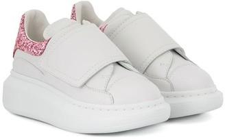 ALEXANDER MCQUEEN KIDS Glitter Panel Touch Strap Sneakers
