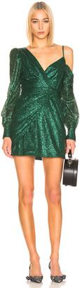 Self-Portrait for FWRD Asymmetric Sequin Dress in Green | FWRD