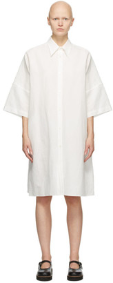 Y's Ys White Linen and Cotton Three-Quarter Sleeve Dress