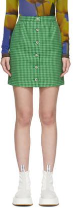 Sunnei Green Houndstooth Miniskirt