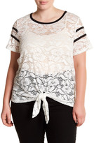 Hip Short Sleeve Sheer Lace Blouse (Plus Size)