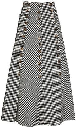 A.W.A.K.E. Mode Monochrome gingham twill skirt