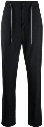Canali Straight Leg Trousers With Drawstring Detail