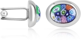 Forzieri Millefiori Murano Glass Oval Cuff Links
