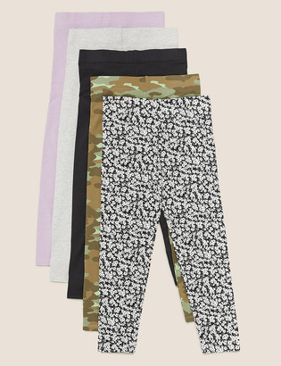 Marks and Spencer 5pk Cotton Patterned Leggings (6-14 Yrs)