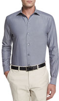 Ermenegildo Zegna Solid Chambray Long-Sleeve Shirt, Dark Gray