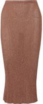 Tibi Metallic Ribbed-knit Midi Skirt - small