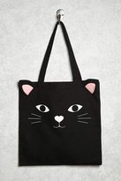 Forever 21 FOREVER 21+ Cat Graphic Canvas Tote
