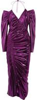Preen by Thornton Bregazzi Lazarus Ruched Lamé Midi Dress - Purple