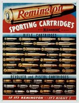 Remington Poster Revolution Sporting Cartridges Rifle Revolver Pistol Bullet Guide Retro Vintage Tin Sign - 13x16