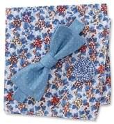 Original Penguin Llie Dot Pre-Tied Bow Tie, Floral Pocket Square, & Check Lapel Pin Box Set