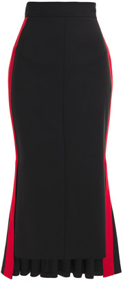 Alexander McQueen Fluted Striped Wool-blend Crepe Midi Skirt