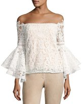 Alexis Thea Off-the-Shoulder Lace Top, White