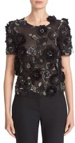 Marchesa Women's 3D Floral Embellished Tulle Top