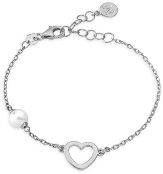 Majorica 6MM White Round Man-Made Pearl Heart Chain Bracelet