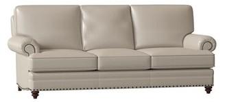 "Bradington-Young Carrado Genuine Leather 87.5"" Rolled Arm Sofa Body Fabric: Empyrean Mist, Leg Color: Mahogany, Nailhead Detail: Antique 7/16 Inch, Cu"