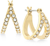 "Vince Camuto Gold-Tone Pavé ""V"" Huggy Hoop Earrings"
