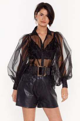 Nasty Gal Womens Sheer Not Balloon Sleeve Organza Shirt - Black - 8