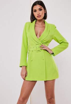 Missguided Petite Lime Belted Blazer Dress