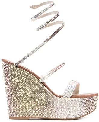 Rene Caovilla Crystal Embellished Wedge Sandals