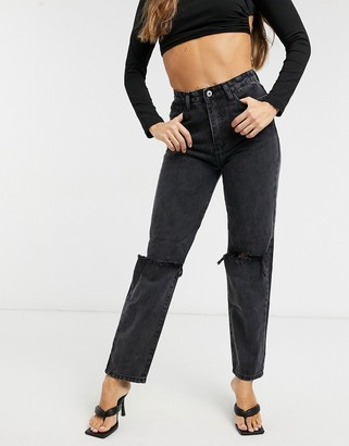 Femme Luxe distressed straight leg jeans in washed black