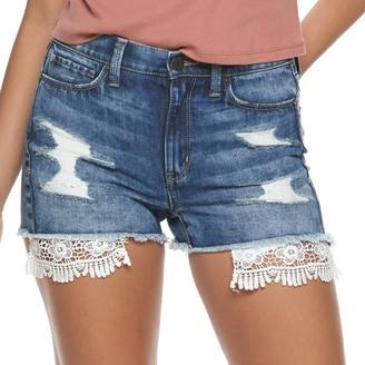 Mudd Juniors' High Rise Destructed Crocket Pocket Jean Shorts