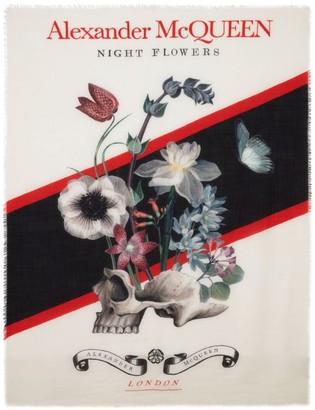 Alexander McQueen Wool-Silk Floral Skull Scarf