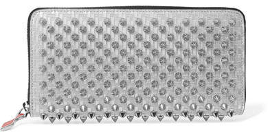 Christian Louboutin Panettone Spiked Glittered Metallic Leather Continental Wallet - Silver