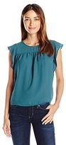 Vero Moda Women's Marion Sleevelss Ruffle Sleeve Shirt with Contrast Fabric