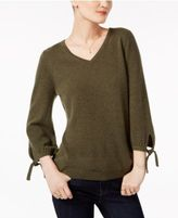 Charter Club Cashmere Tie-Sleeve Sweater, Only at Macy's