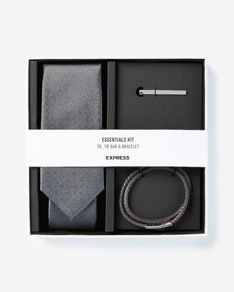 Express Solid Tie, Tie Bar & Bracelet Gift Set