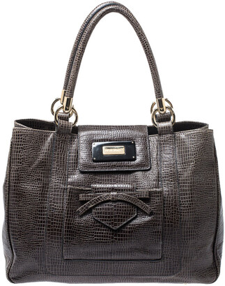 Emporio Armani Olive Green Croc Embossed Leather Front Pocket Tote