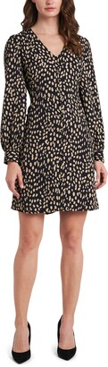 Vince Camuto Animal Reset Print Long Sleeve Fit & Flare Dress