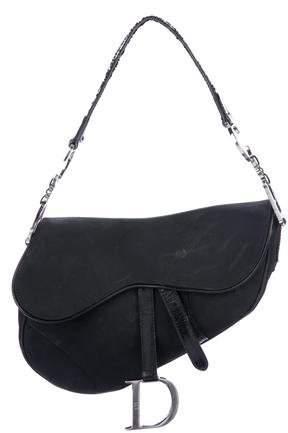 Christian Dior Leather-Trimmed Nylon Saddle Bag