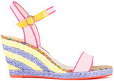 Sophia Webster buckled wedge sandals - women - Calf Leather/Canvas - 37.5