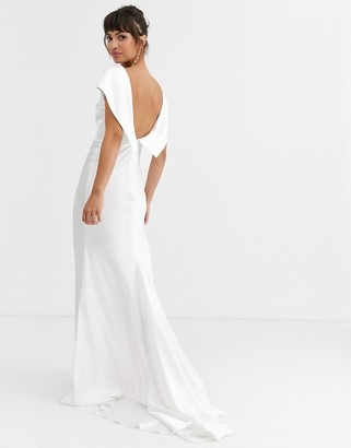 Asos Edition EDITION off shoulder maxi wedding dress with drape back detail-White