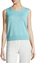 St. John Santana Sleeveless Ribbed Tank, Cyan Blue