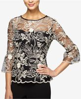 Alex Evenings Embroidered Illusion Top