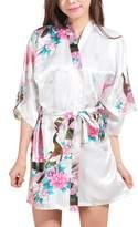 FAYBOX Bridesmaid Peacock Short Kimono Robe Wedding Satin Silk Sleepwear M